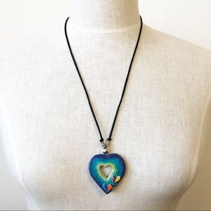 Handmade Mexican Painted Carved Heart Necklace